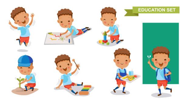 kindergarten children - budynek przedszkola stock illustrations