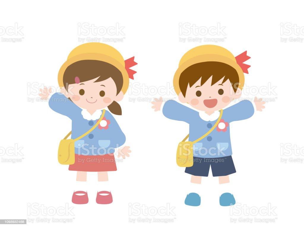 Ecole Maternelle Enfants2 Vecteurs Libres De Droits Et Plus D Images Vectorielles De Amitie Istock