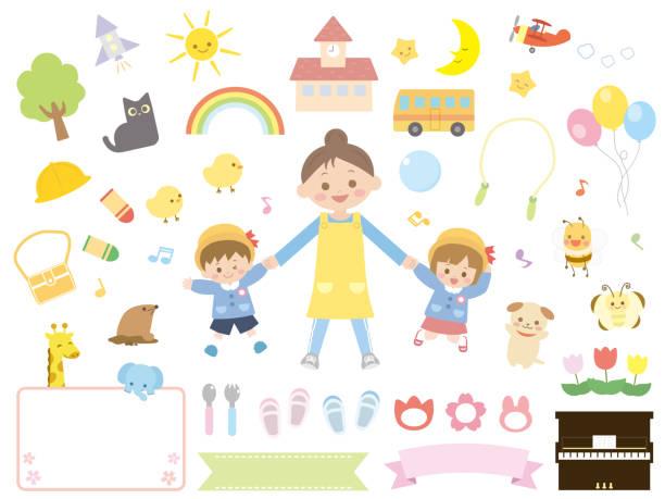 bildbanksillustrationer, clip art samt tecknat material och ikoner med förskola children4 - förskolebyggnad
