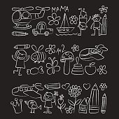Kindergarten doodle pictures on blackboard