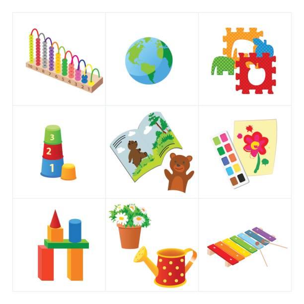 kindergarten-pädagogische vektor-spielzeug - puppenkurse stock-grafiken, -clipart, -cartoons und -symbole