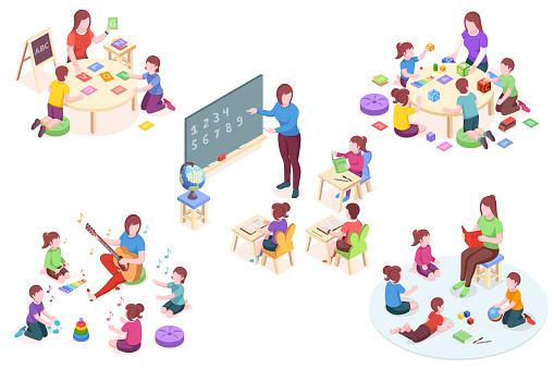 Kindergarten Isometric Vector Elements Kids And Teacher ...