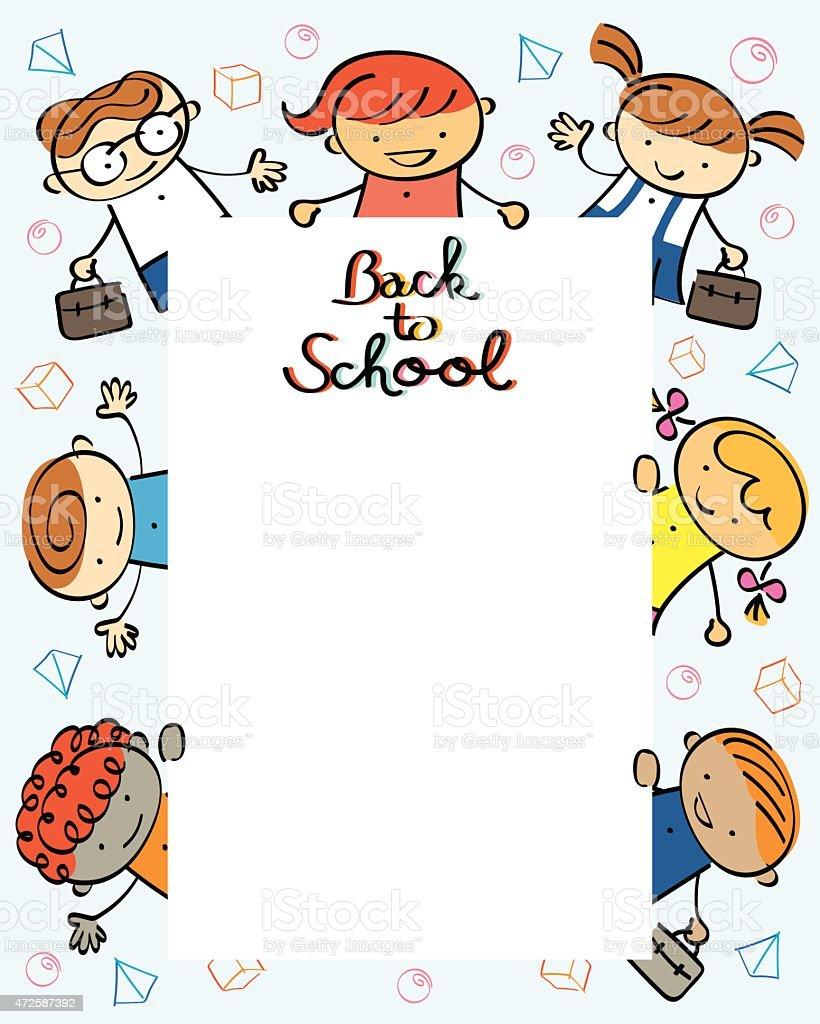 Kindergarten Kids Back To School Frame Stock Vector Art More