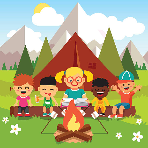 Kindergarten Kids Camping In The Forest Vector Art Illustration
