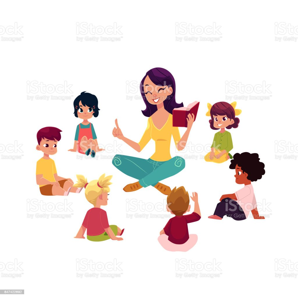 Kindergarten kids listen to teacher reading a book vector art illustration