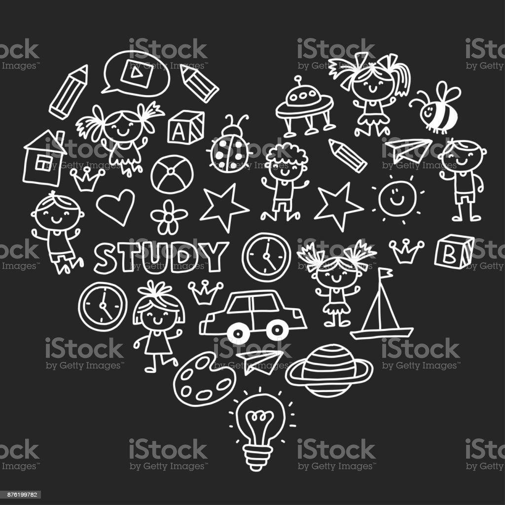 Anaokulu Anaokulu Okul Oncesi Egitim Cocuk Ile Desen Oyun Doodle