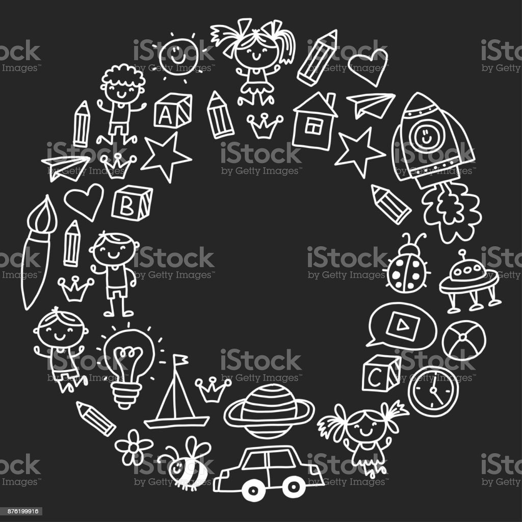 Anaokulu Anaokulu Okul öncesi Eğitim çocuk Ile Desen Oyun Doodle Ve