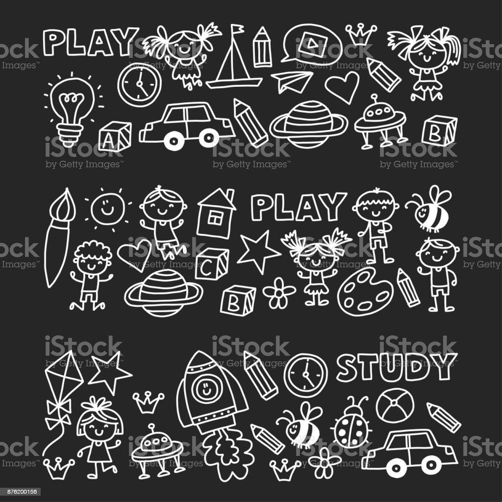 Kindergarten Vorschule Kindergarten Bildung Mit Kindern Doodle ...