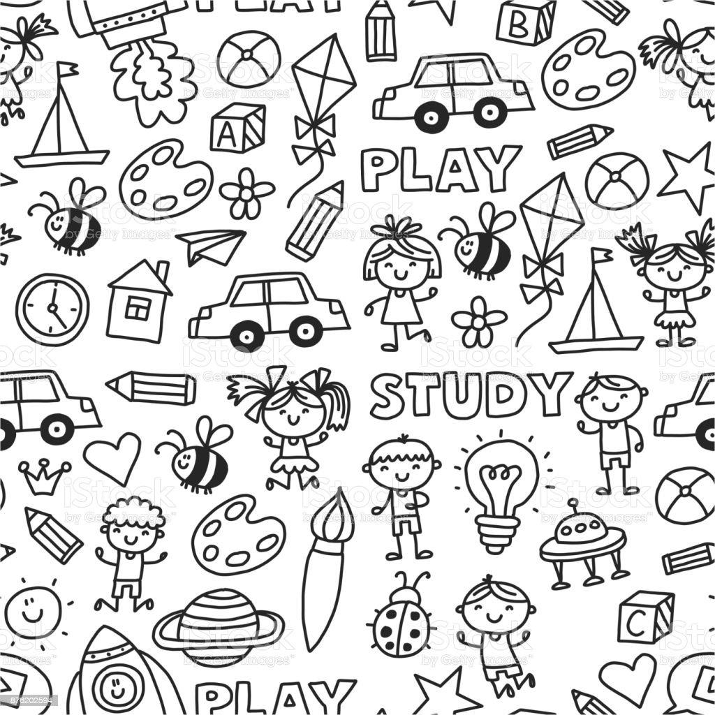 Kindergarten Vorschule Kindergarten Bildung Mit Kindern Die Doodle ...