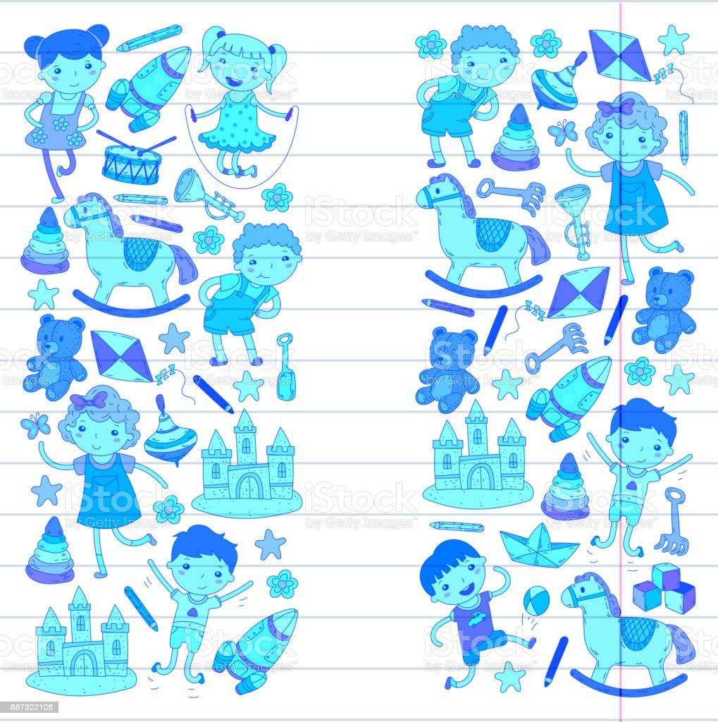 Kindergarten Nursery Preschool School Education With Children Doodle ...