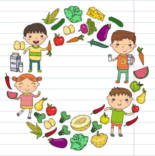 kindergarten nursery preschool school kids eat healthy food boys and girls with fruits and vegetables. children cafe, menu, restaurant. vitamins. - vegetable blood stock illustrations, clip art, cartoons, & icons