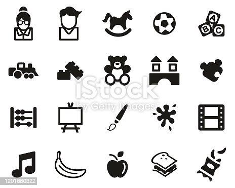 istock Kindergarten Or Day Care Icons Black & White Set Big 1201880322