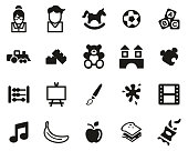 istock Kindergarten Or Day Care Icons Black & White Set Big 1201880322
