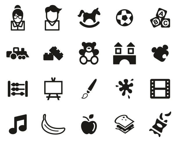 Kindergarten Or Day Care Icons Black & White Set Big This image is a vector illustration and can be scaled to any size without loss of resolution. female sandwich stock illustrations