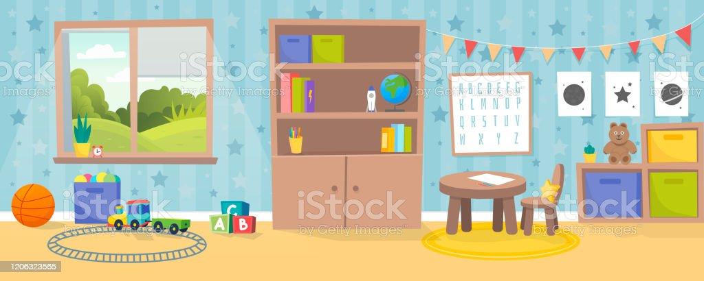 Illustration de vecteur intérieur de salle de jardin d'enfants ou d'enfant. Fond vide de dessin animé avec des jouets d'enfant, des tables et des boîtes de tiroir. Chambre moderne avec des meubles, la lumière du soleil de la fenêtre et des jouet - clipart vectoriel de Adolescent libre de droits
