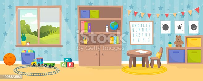istock Kindergarten or kid room interior vector illustration. Empty cartoon background with child toys, tables and drawer boxes. Modern room with furniture, sunlight from window and toys for kids. 1206323565