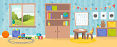 Kindergarten or kid room interior vector illustration. Empty cartoon background with child toys, tables and drawer boxes. Modern room with furniture, sunlight from window and toys for kids. Preschool.