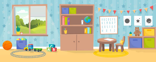 ilustrações de stock, clip art, desenhos animados e ícones de kindergarten or kid room interior vector illustration. empty cartoon background with child toys, tables and drawer boxes. modern room with furniture, sunlight from window and toys for kids. - sala