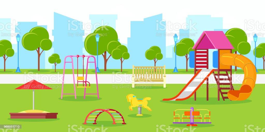Wonderlijk Kleuter Of Kinderen Speeltuin In Stadspark Vector Stadsleven OY-52