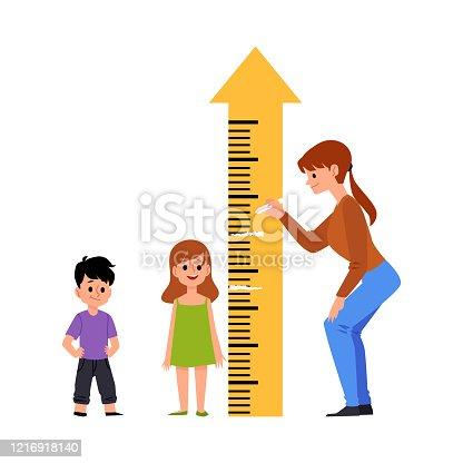 istock Kindergarten or preschool children measure height vector illustration isolated. 1216918140