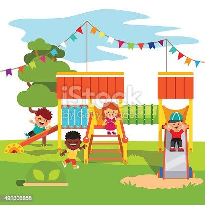 Kindergarten Park Playground Slide With Kids Stock Vector Art 492308858 Istock