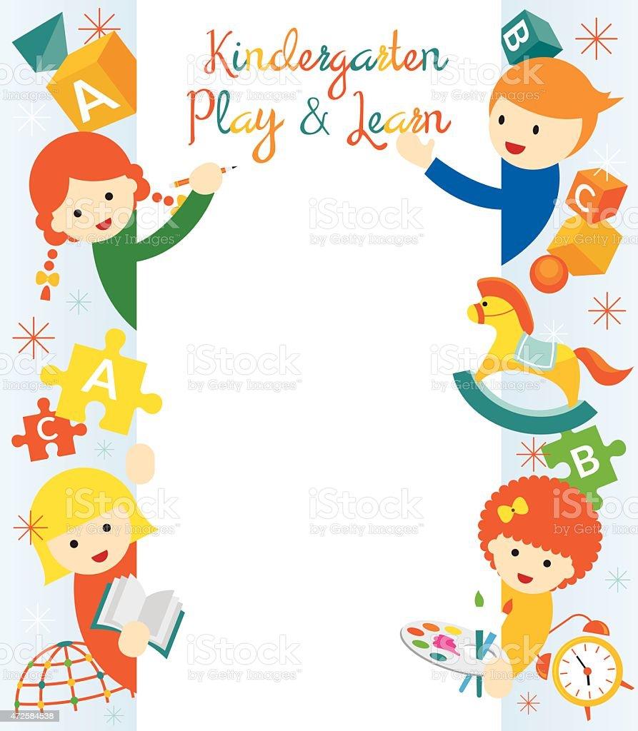 kindergarten preschool kids border and frame stock vector art & more