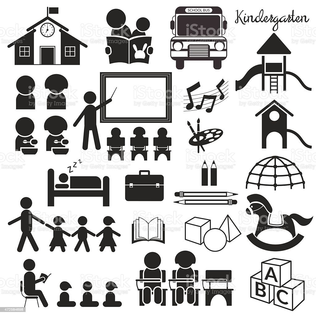 Kindergarten, Preschool, Mono Icons Set vector art illustration