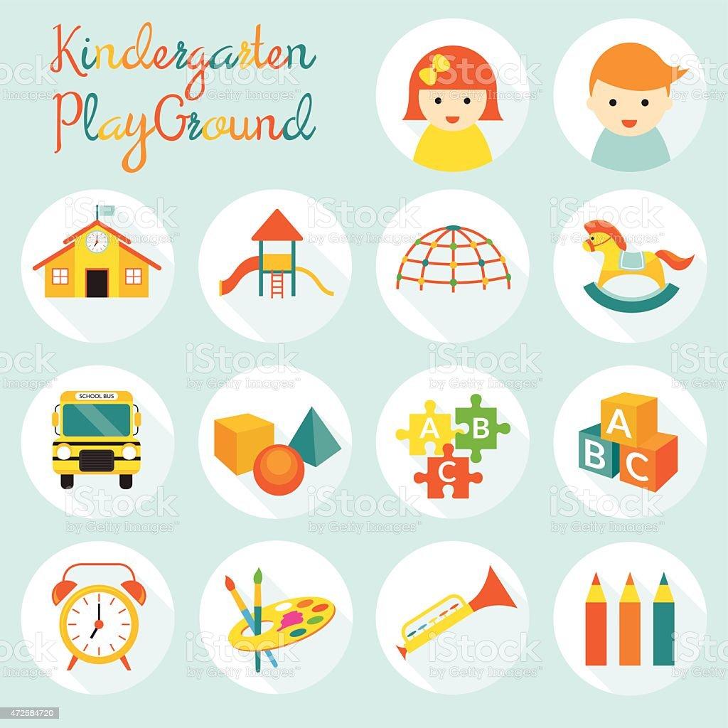 Bereits im Kindergarten Kinder, Objekte Symbole-Set – Vektorgrafik