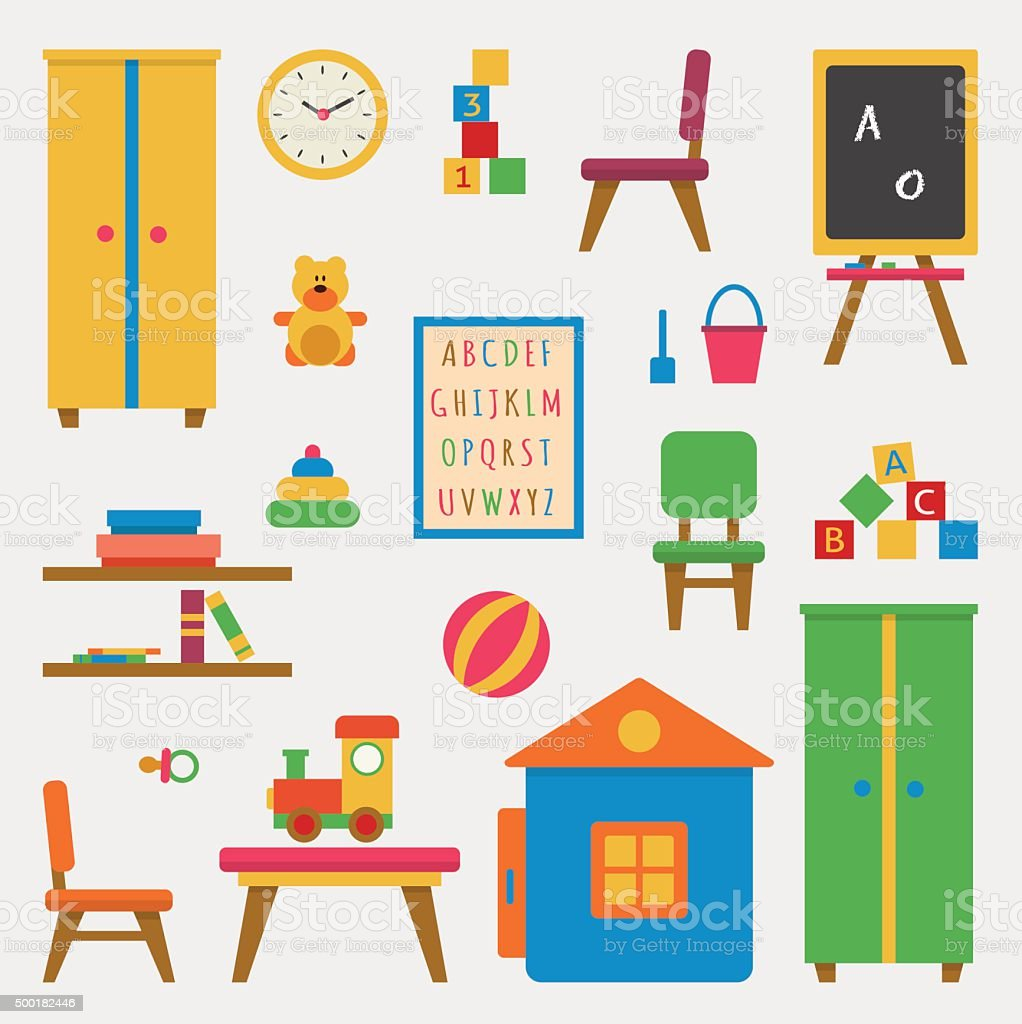 Kindergarten preschool playground. vector art illustration