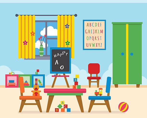 bildbanksillustrationer, clip art samt tecknat material och ikoner med kindergarten preschool playground. - förskolebyggnad
