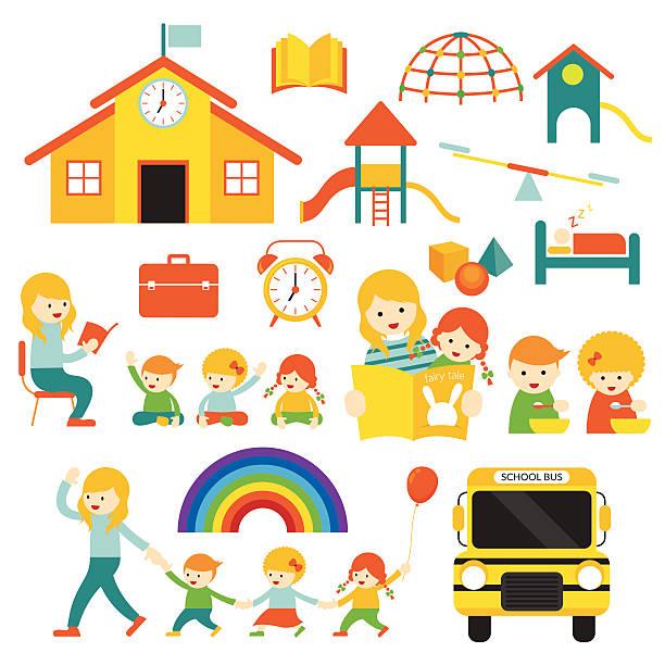 przedszkola, przedszkole nauczyciel i dzieci, ustaw - budynek przedszkola stock illustrations