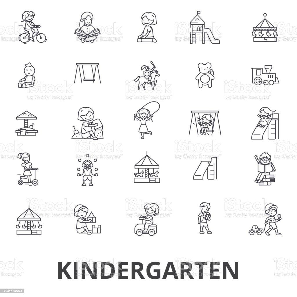 유치원 유치원 교사 보육 놀이터 놀이방 아이 라인 아이콘을 ...
