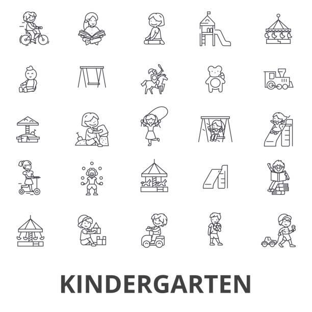 kindergarten, preschool, teacher, nursery, playground, daycare, kids playing line icons. editable strokes. flat design vector illustration symbol concept. linear signs isolated - recess stock illustrations, clip art, cartoons, & icons