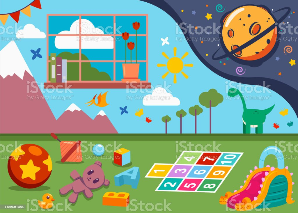 Kindergarten Room With Kids Toys Window And Painted Walls Child Playroom Vector Cartoon Illustration Stock Illustration Download Image Now Istock