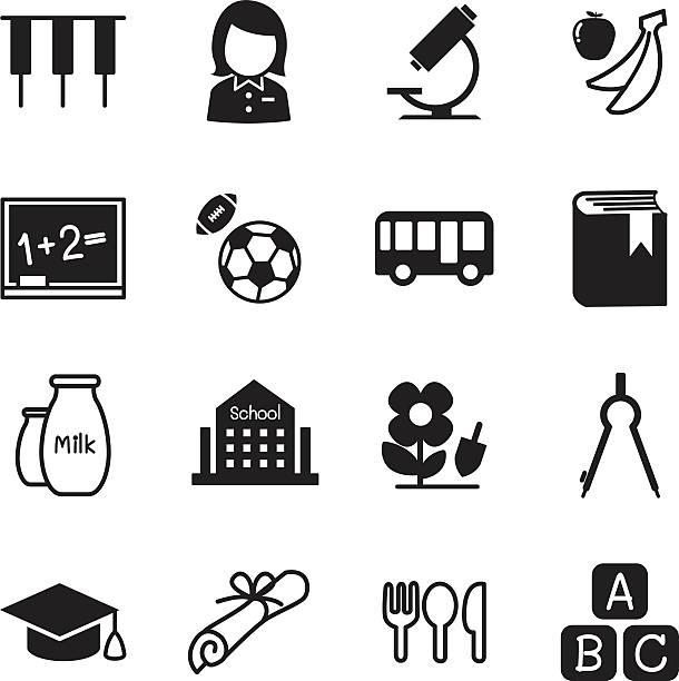 ilustrações de stock, clip art, desenhos animados e ícones de jardim de infância ensino ilustração vetorial de ícones símbolo 2 - teacher school solo