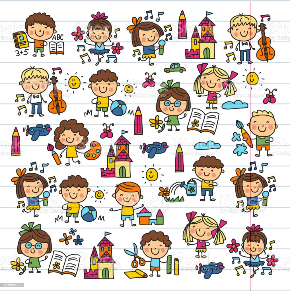 Kindergarten School Education Study Children Play and grow Kids drawing icons vector art illustration
