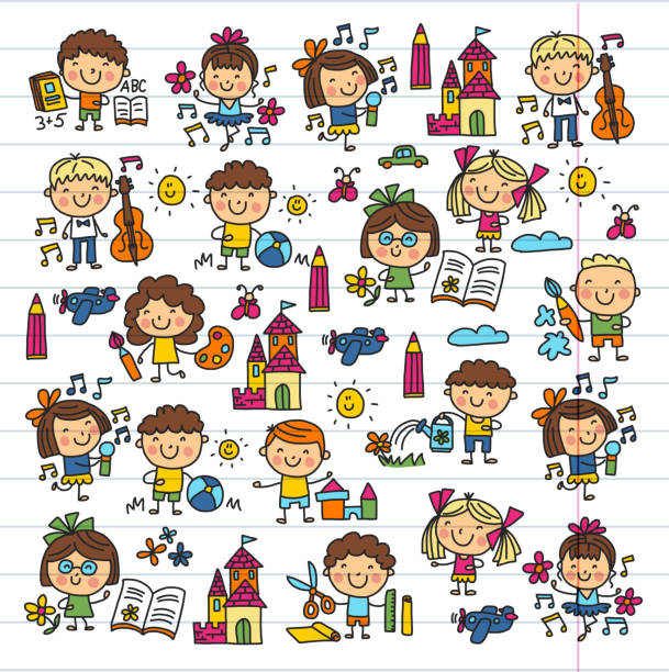 Kindergarten School Education Study Children Play and grow Kids drawing icons vector art illustration