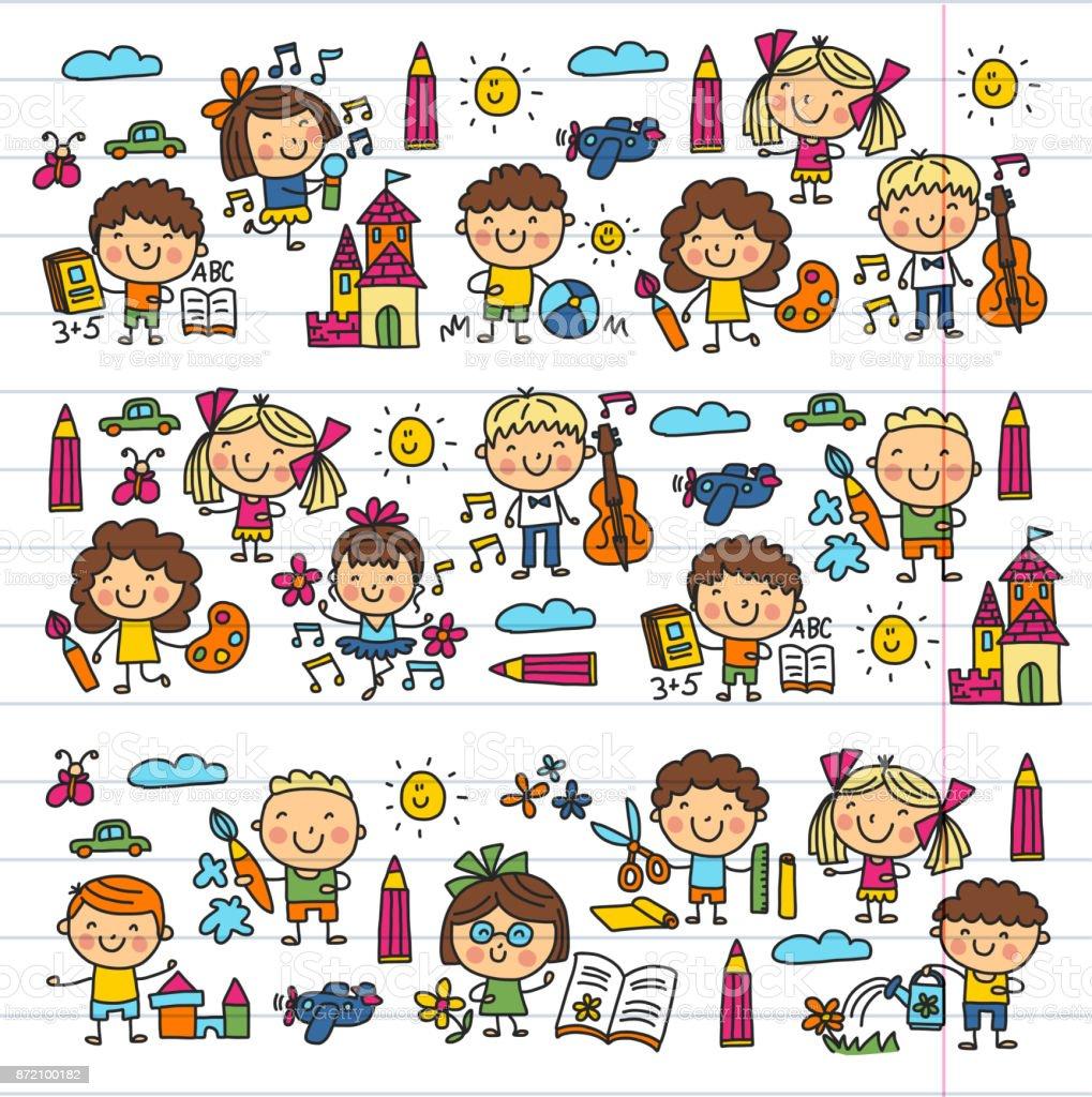 Ilustración de Jardín De Infantes Escuela Educación Estudio Los ...