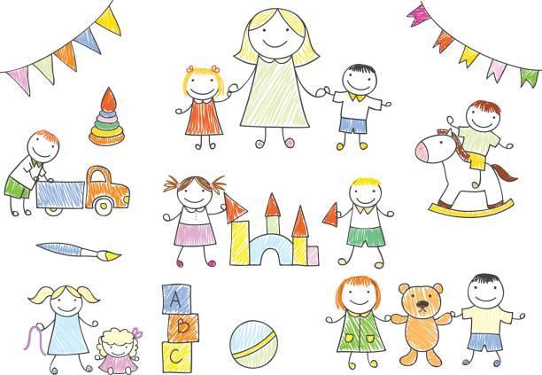 幼稚園の先生と子供たちがおもちゃで遊んで - 保育点のイラスト素材/クリップアート素材/マンガ素材/アイコン素材