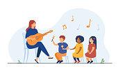 Kindergarten teacher playing guitar for diverse group of kids. Preschool children enjoying music lesson. Flat vector illustration for day care activity, childhood concept