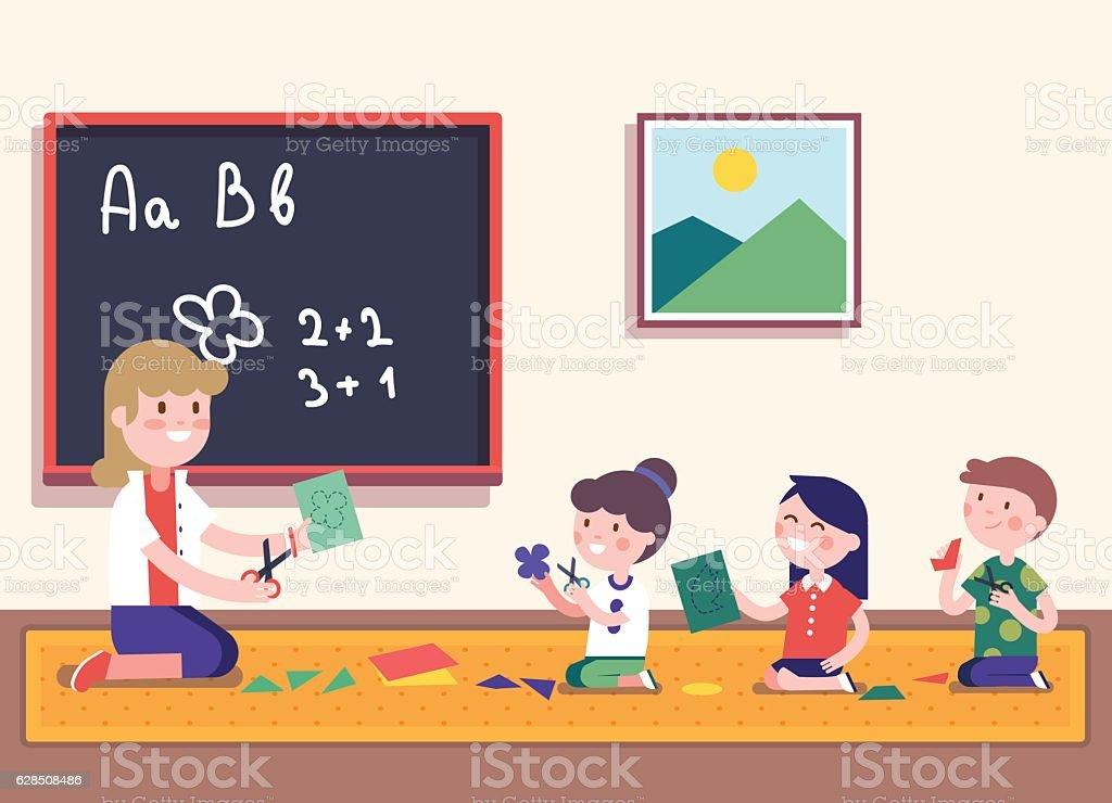 kindergarten teacher teaching math to her pupils vector id628508486 - Teaching Kindergarten Math