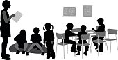 A vector silhouette illustration of a teacher reading to her kindergarden classroom full of young students sitting on a cushion and at a table with one young girl standing.