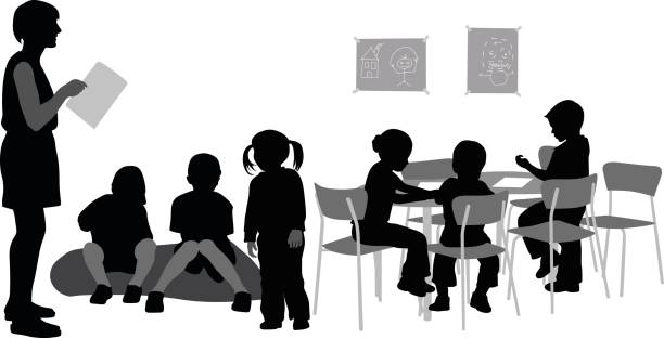 Kindergarten Teacher A vector silhouette illustration of a teacher reading to her kindergarden classroom full of young students sitting on a cushion and at a table with one young girl standing. preschool teacher stock illustrations