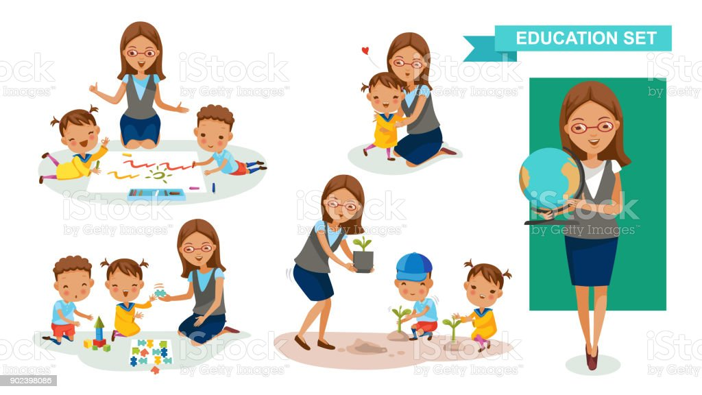 Kindergarten teacher vector art illustration