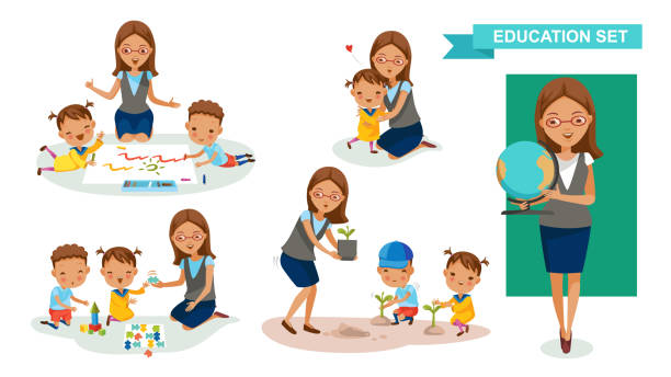 kindergarten teacher - przedszkole stock illustrations