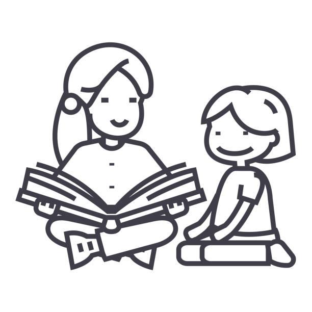ilustrações, clipart, desenhos animados e ícones de professora de jardim de infância, livro de leitura da mulher para o ícone de linha do vetor de garota, sinal, ilustração em fundo, traços editáveis - professor de pré escola