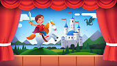 Kindergarten theater stage performance. Boy kid actor role of medieval castle knight wielding sword riding horse. Child acting in fairy tale decorations play show. Flat style vector character isolated illustration