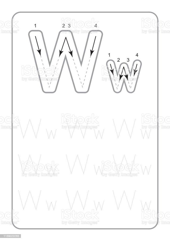 Kindergarten Tracing Letters Worksheets Monochrome Tracing Letters  Worksheets On White Background Vector Illustration Stock Illustration -  Download Image Now - IStock