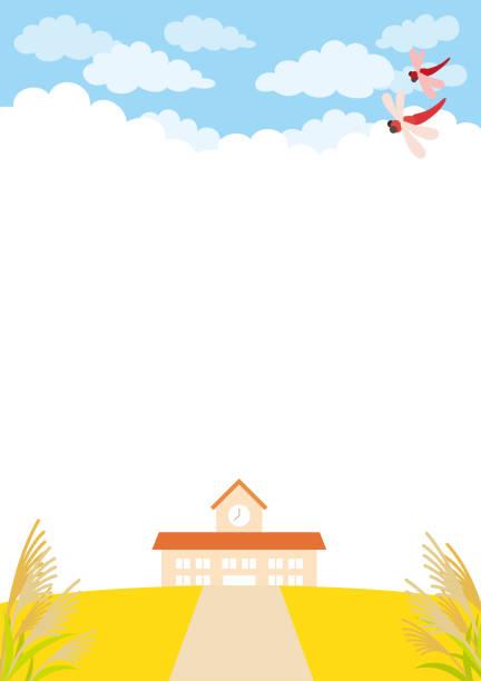 illustrazioni stock, clip art, cartoni animati e icone di tendenza di kindergarten under the autumn sky - miscanthus sinensis