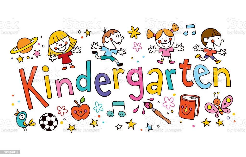 kindergarten unique hand lettering with kids royalty-free kindergarten unique hand lettering with kids stock vector art & more images of banner - sign